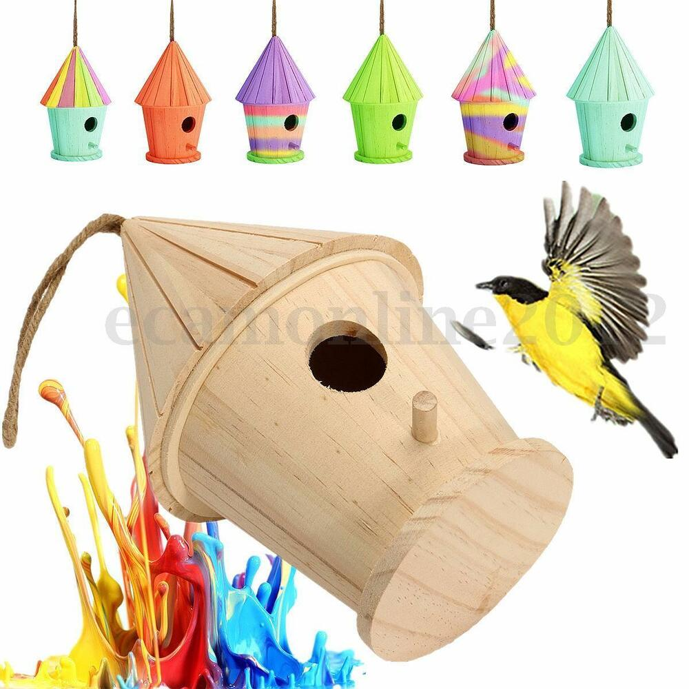 Wood wild bird house feeder box birdhouse nest home garden for Bird home decor