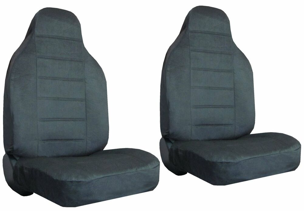 quilted encore velour 2 charcoal grey high back bucket car truck seat covers 8 ebay. Black Bedroom Furniture Sets. Home Design Ideas