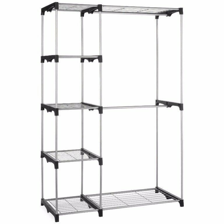 silver portable closet organizer storage clothes hanger garment shelf rail rack ebay. Black Bedroom Furniture Sets. Home Design Ideas