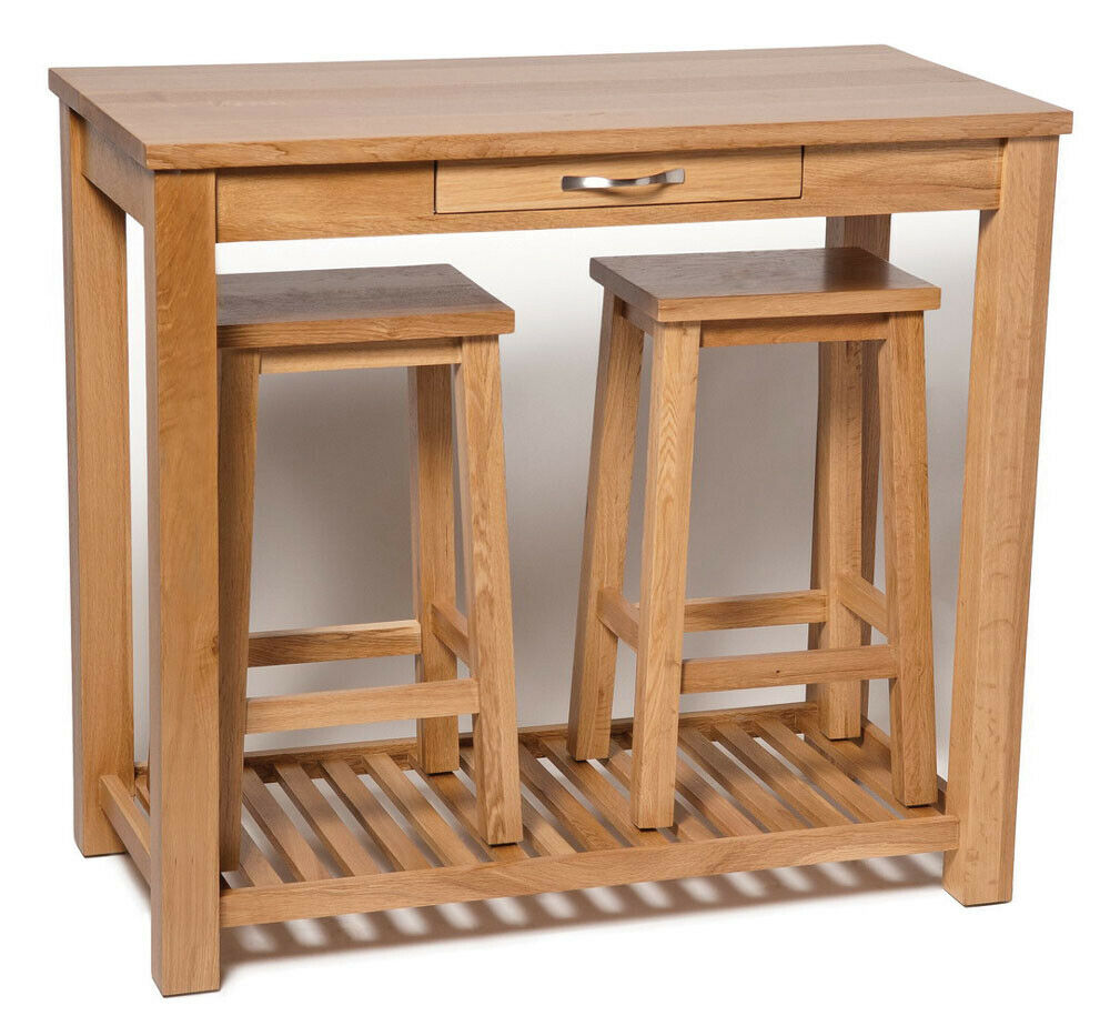 oak breakfast bar table oak breakfast bar table and stools set wooden kitchen 324