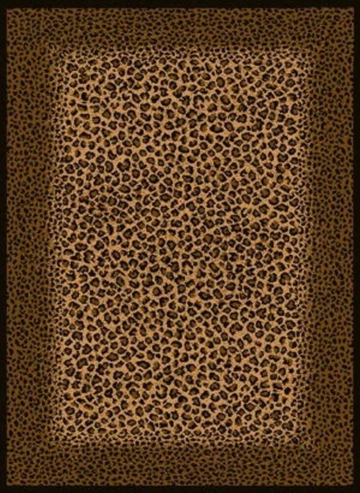 Leopard Animal Skin With Border 5x8 Area Rug Carpet Ebay
