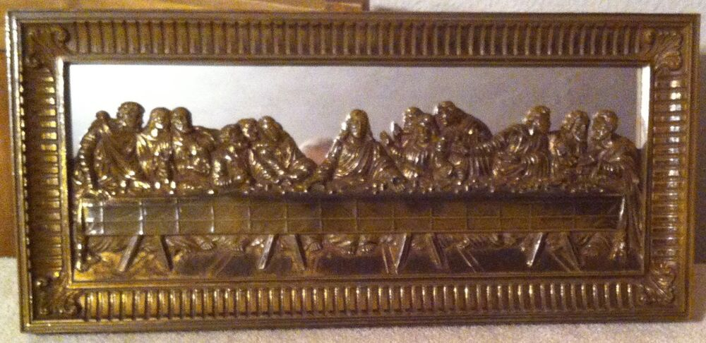 Home Interiors Picture Lords Last Supper Mirrored 22 X 10