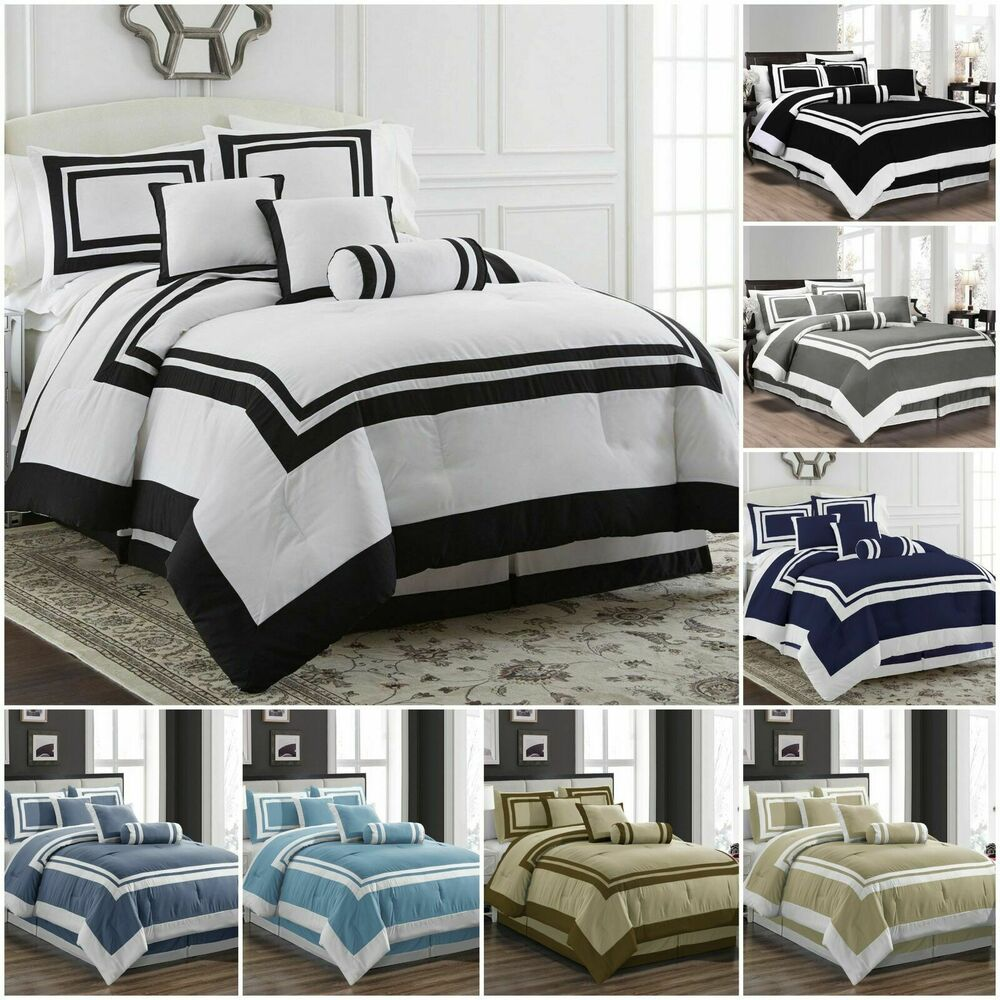 Chezmoi collection 7 piece hotel style comforter set full 7 piece queen bedroom furniture sets