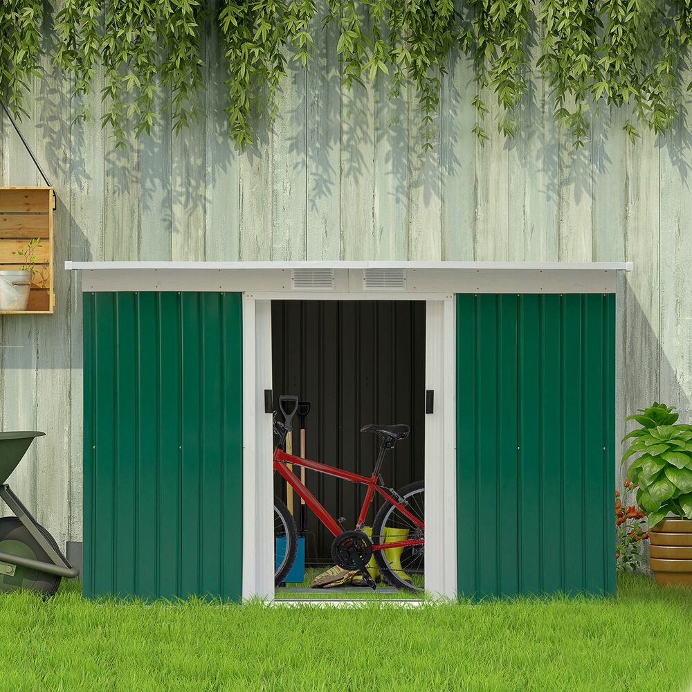 9 39 outdoor garden storage shed steel garage tools utility for Outdoor garden shed