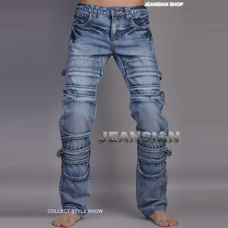 jeansian mens fashion jeans pants denim multi zips w30 32 34 36 38 l32 j001 ebay. Black Bedroom Furniture Sets. Home Design Ideas
