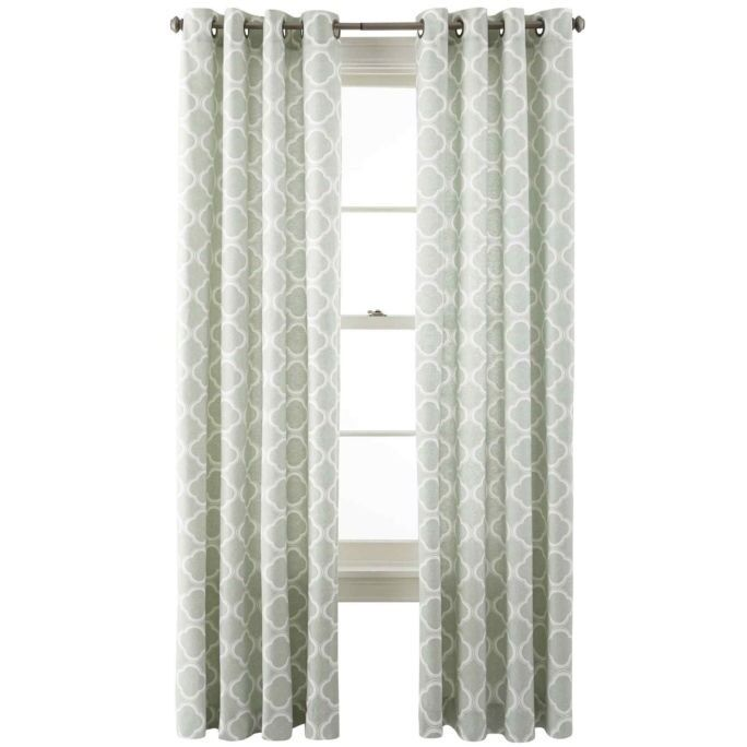 Jcp Home Nolan Grommet Top Cotton Curtain Panel Aqua Grey