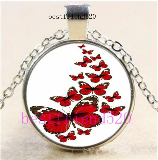 Red Butterfly Flying Cabochon Glass Dome Silver Chain Pendant Necklace