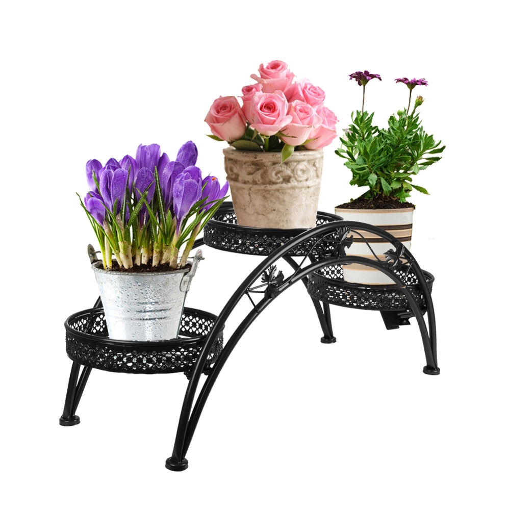 wrought iron pot plant stand for three plants indoor or outdoor arch design ebay. Black Bedroom Furniture Sets. Home Design Ideas