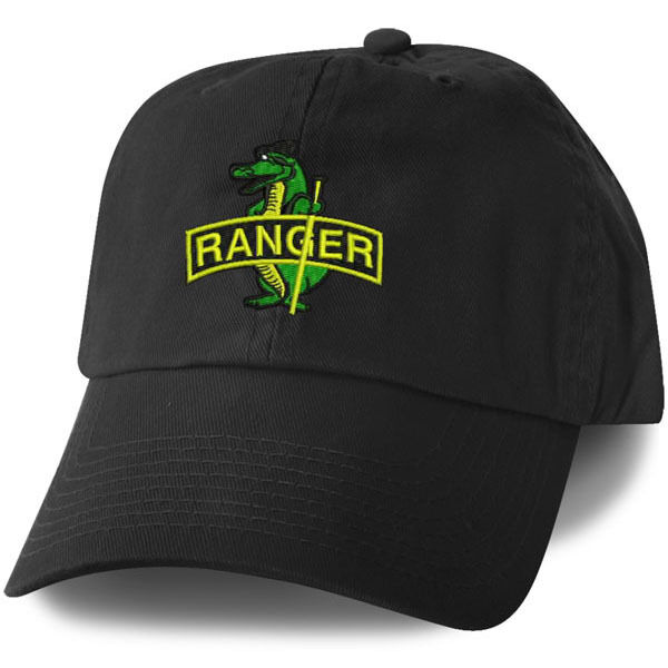 Army Ranger Alligator Embroidered Military Black Hat Cap