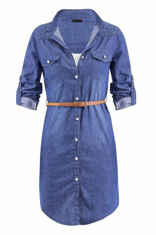 Womens vintage detachable waist belt denim full sleeve Women s long sleeve shirt dress