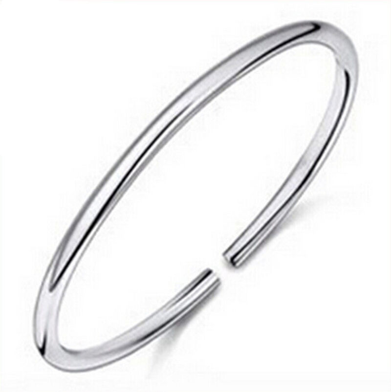 new 925 sterling silver solid charm adjustable cuff bangle