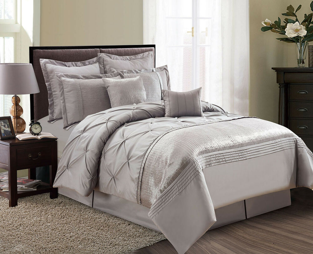 8 piece bedding set 8 aubree pinched pleat taupe comforter set ebay 3948