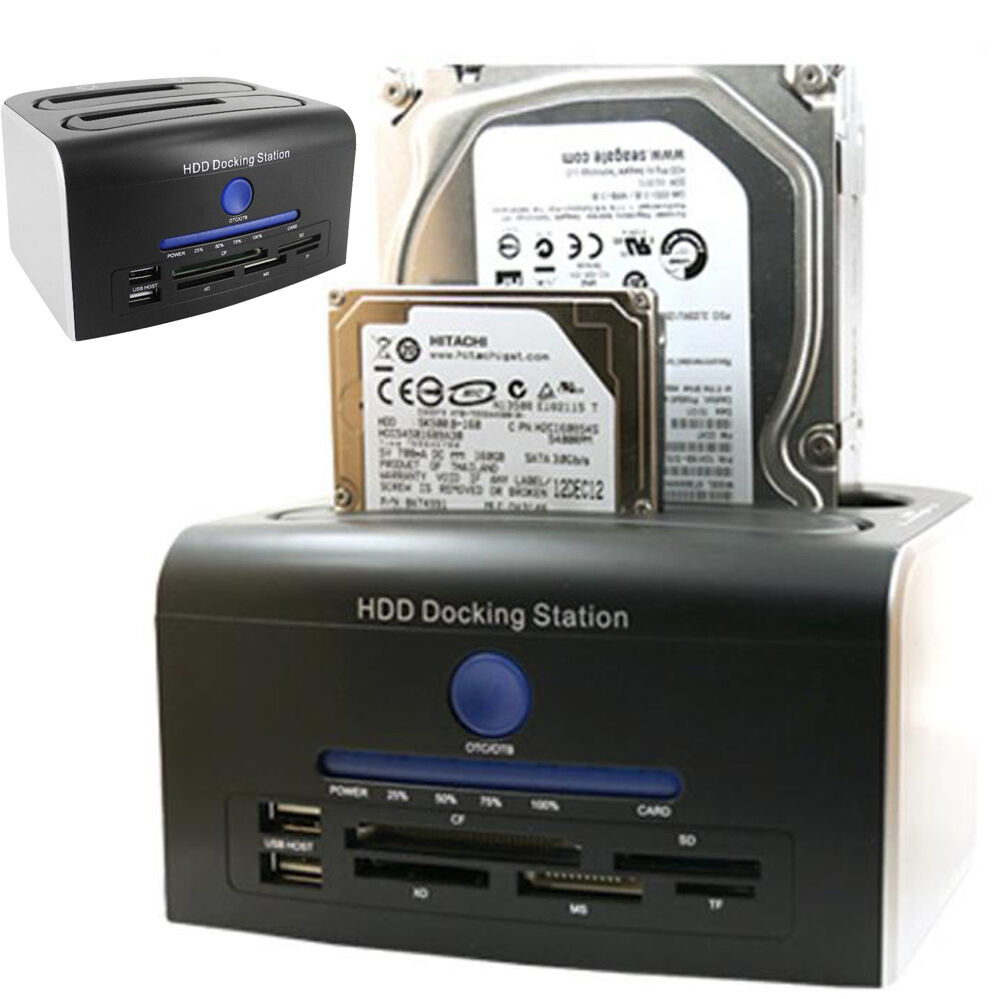 2.5/3.5inch SATA HDD Hard Drive Docking Station USB3.0+Clone OTB/OTC Card Reader | eBay
