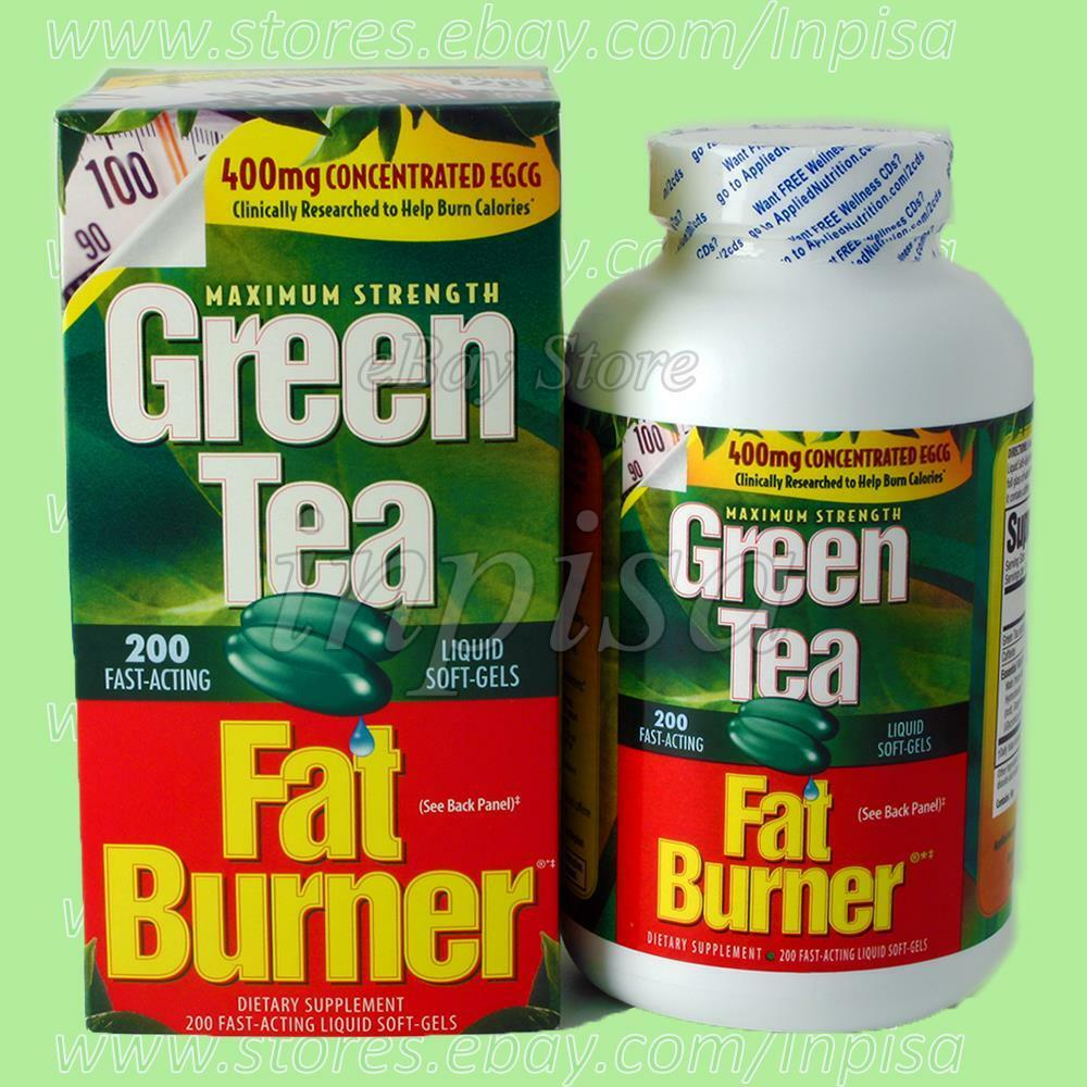 GREEN TEA FAT BURNER 1 Bottle x 200 Liquid Soft Gels 400mg ...
