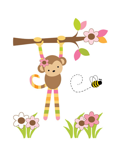 Safari nursery decals hanging monkey girl wall art mural for Baby jungle safari wall mural