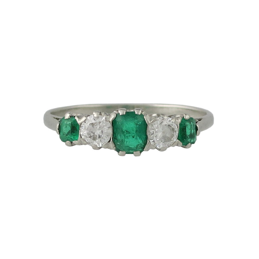 Vintage Platinum Emerald And Diamond Ring Ebay