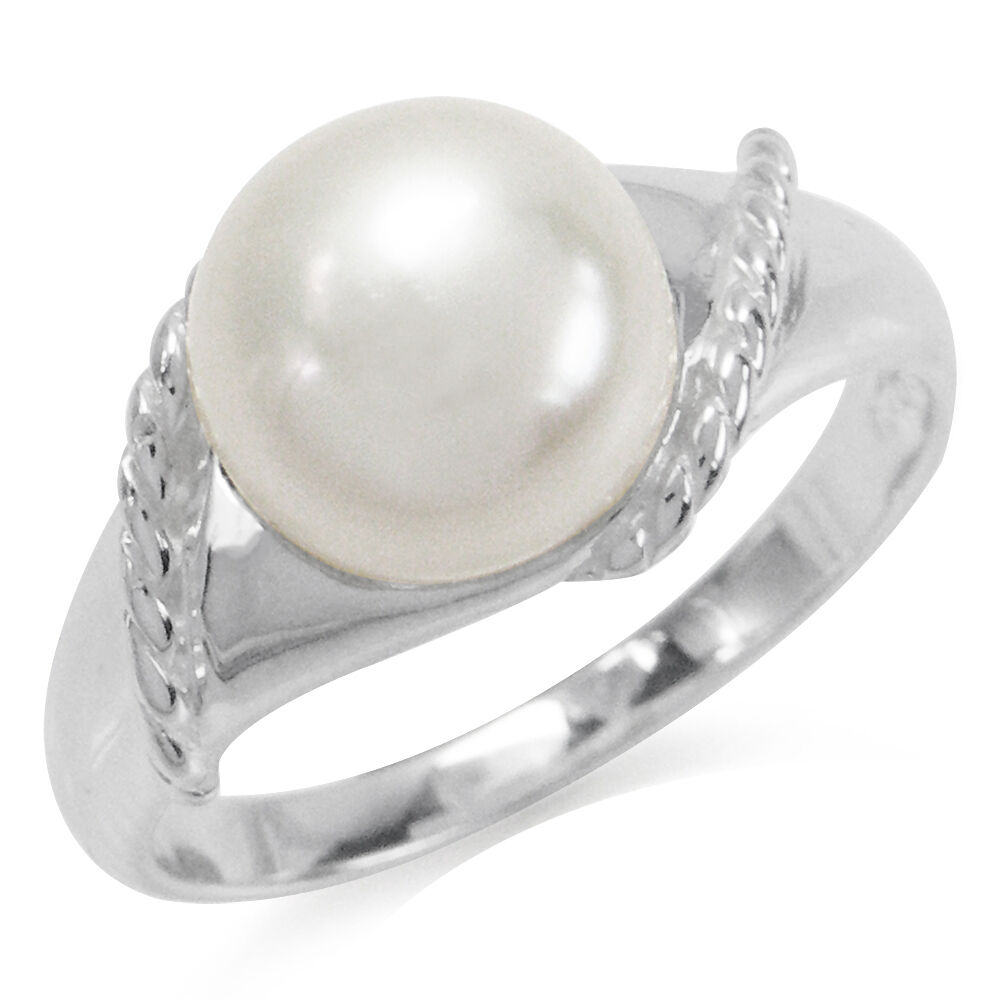 9mm cultured white pearl 925 sterling silver rope ring ebay