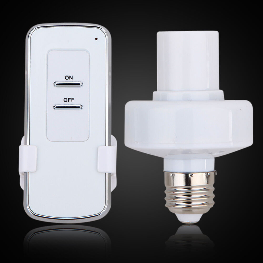 e27 screw base wireless remote control lamp bulb holder cap socket light switch ebay. Black Bedroom Furniture Sets. Home Design Ideas