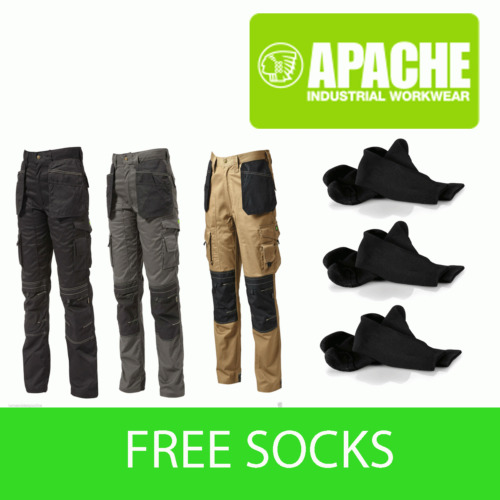 Apache Knee Pad Holster Work Trouser APKHT Black Grey Stone - with 3 Socks