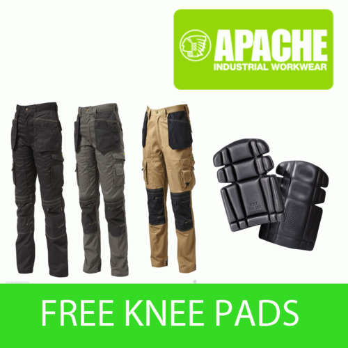 Apache Knee Pad Holster Work Trouser APKHT Black Grey Stone - with Knee Pads