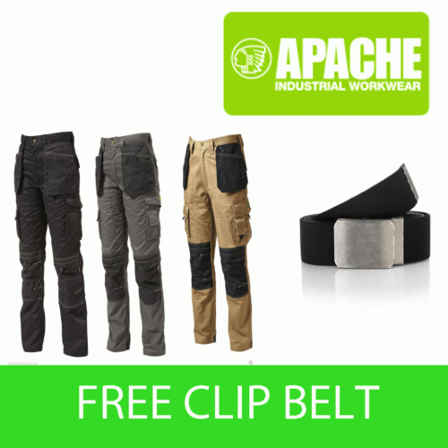 Apache Knee Pad Holster Work Trouser APKHT Black Grey Stone - with Clip Belt