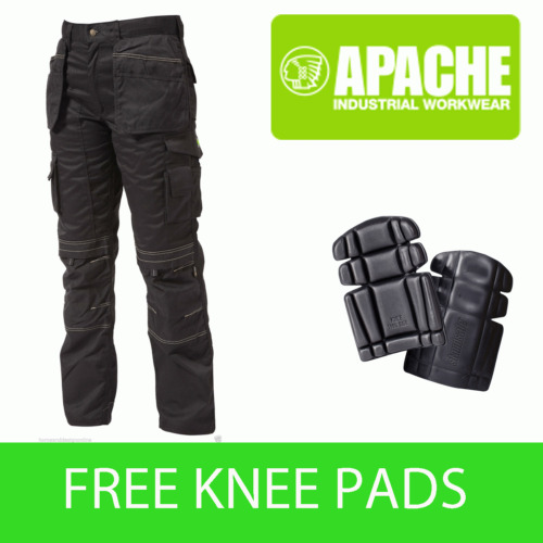 Apache Black Knee Pad Holster Work Trouser APKHT- BLACK- Pads Included