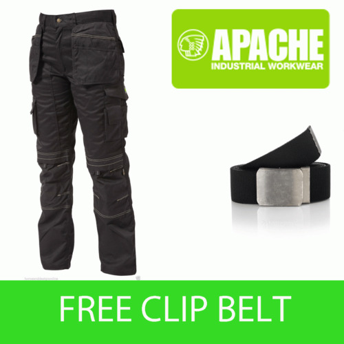 Apache Black Knee Pad Holster Work Trouser APKHT- BLACK- Belt Included
