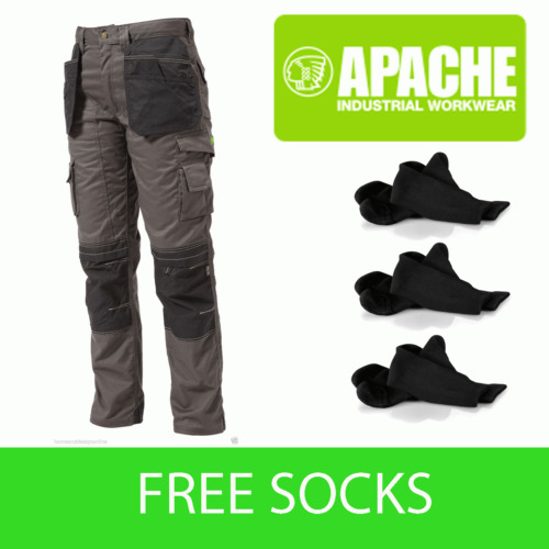 Apache Knee Pad Holster Work Trouser APKHT- GREY - Socks Included