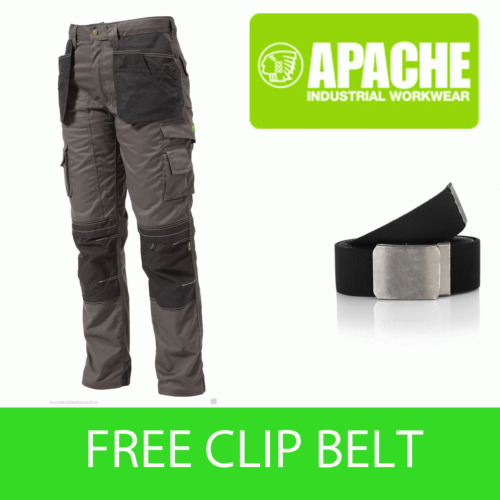 Apache Knee Pad Holster Work Trouser APKHT- GREY - Clip Belt Included