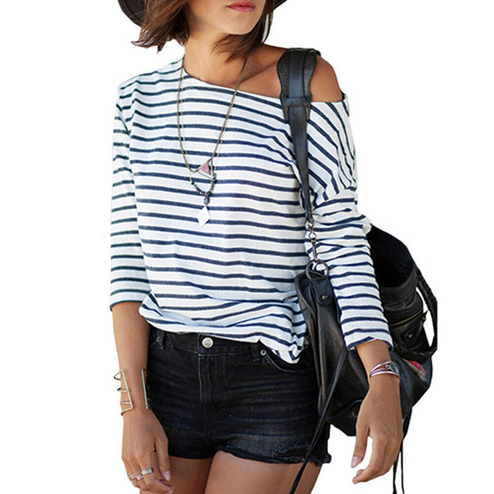 395051729a Black and White Striped Batwing Top Australia T-shirt Ladies Tops Size RRP  $30   eBay