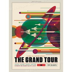 The Grand Tour of the Solar System  Retro Space Exploration Poster - 20x28