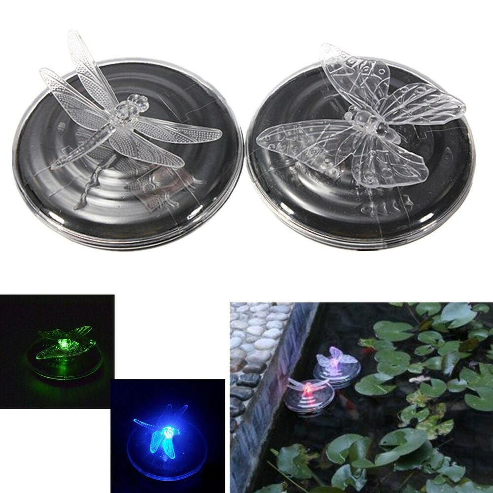 New Solar Power Light Color Changing Dragonfly Butterfly Float Pong Garden Lamp Ebay