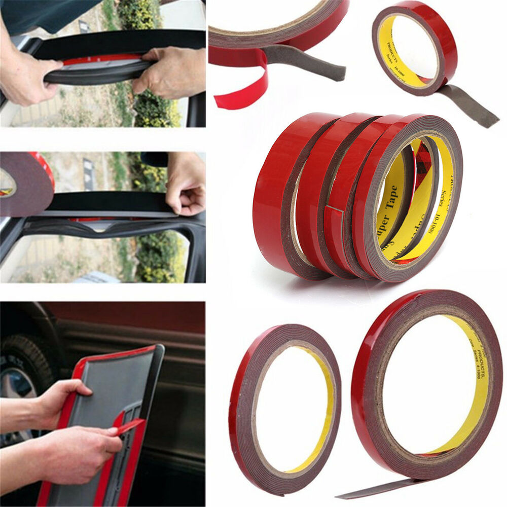 3m strong permanent double sided adhesive glue tape super sticky with red liner ebay. Black Bedroom Furniture Sets. Home Design Ideas