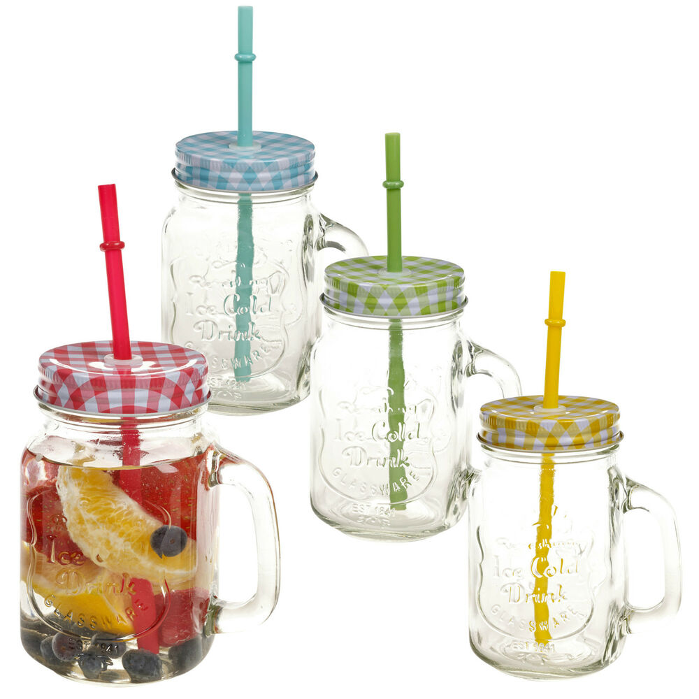 Ball Jar Drinking Glasses With Straws