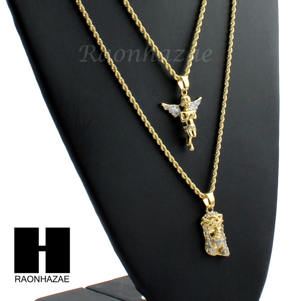 "ICED OUT ANGEL & JESUS FACE CZ PENDANTS 24"" 30"" ROPE CHAIN"
