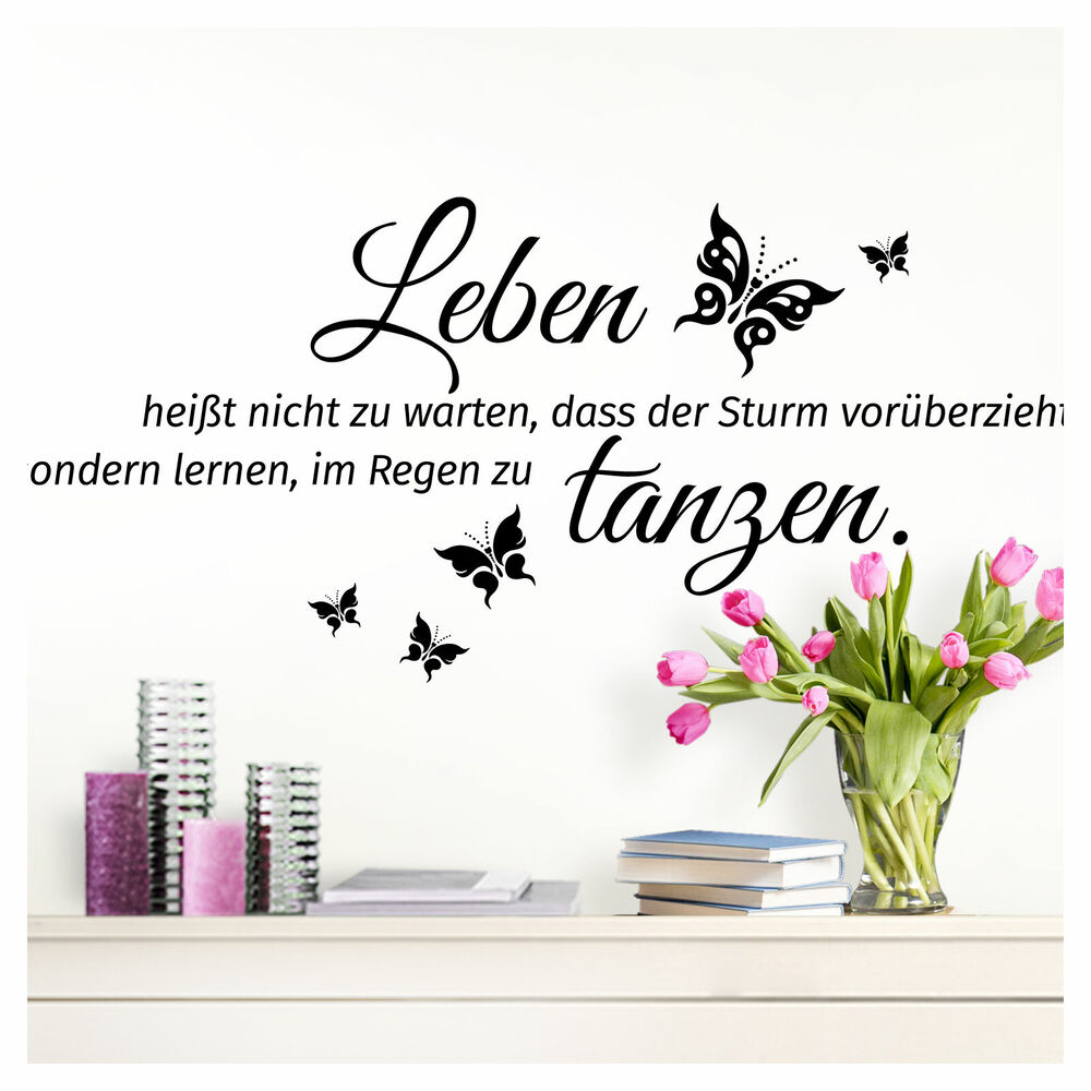 wandtattoo wandaufkleber wandsticker spr che leben hei t 70x32cm schwarz w3305 ebay. Black Bedroom Furniture Sets. Home Design Ideas