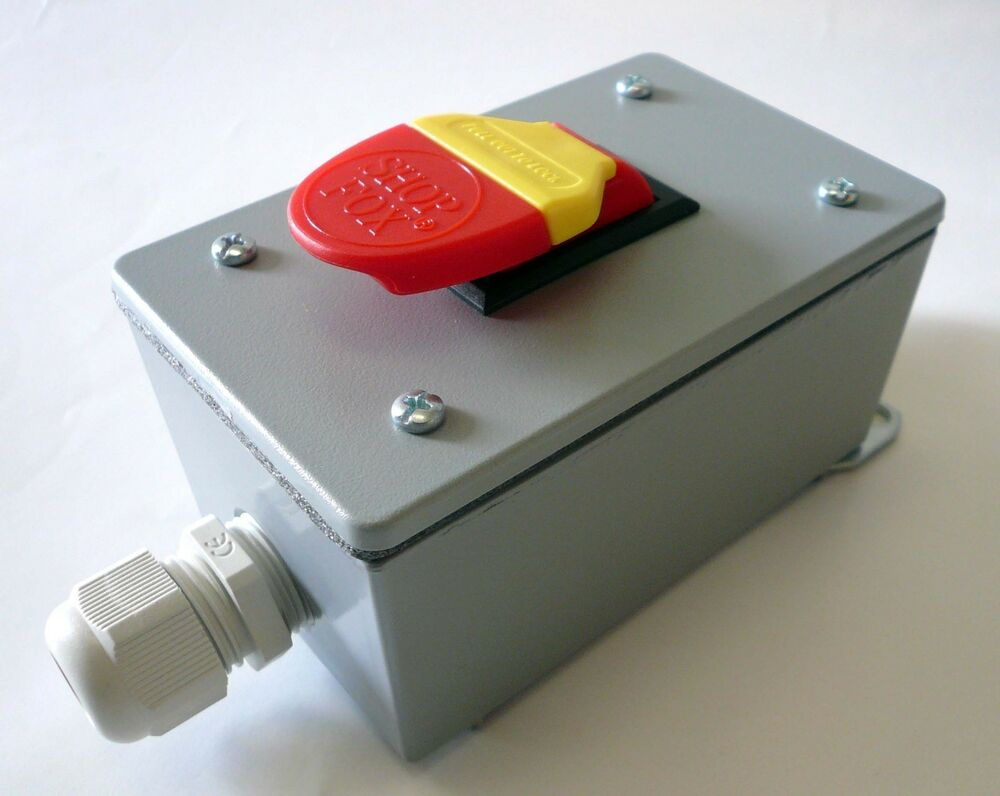 Safety paddle on off switch in metal enclosure for v