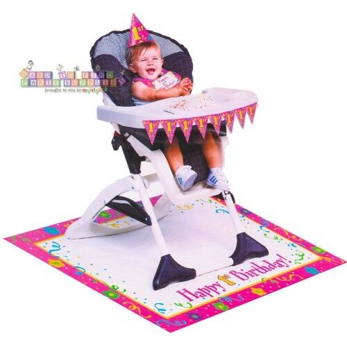 GIRLS 1ST Birthday Pink HIGH CHAIR DECORATING KIT
