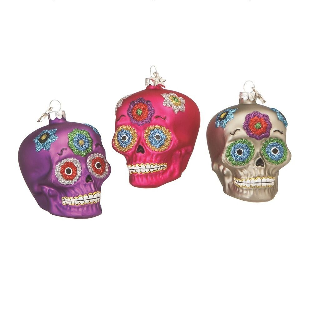 540626 Day Of The Dead Glass Christmas Holiday Ornaments