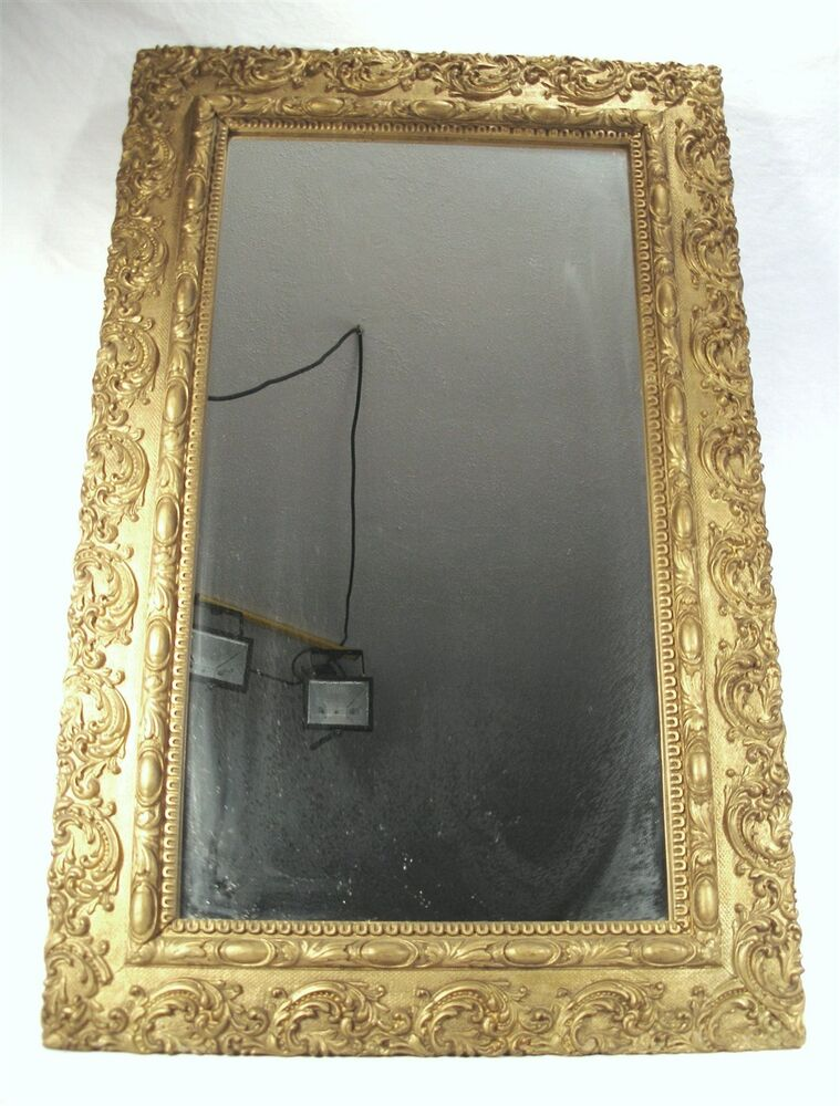 Antique victorian lavish ornate rectangular carved gold for Wood framed mirrors