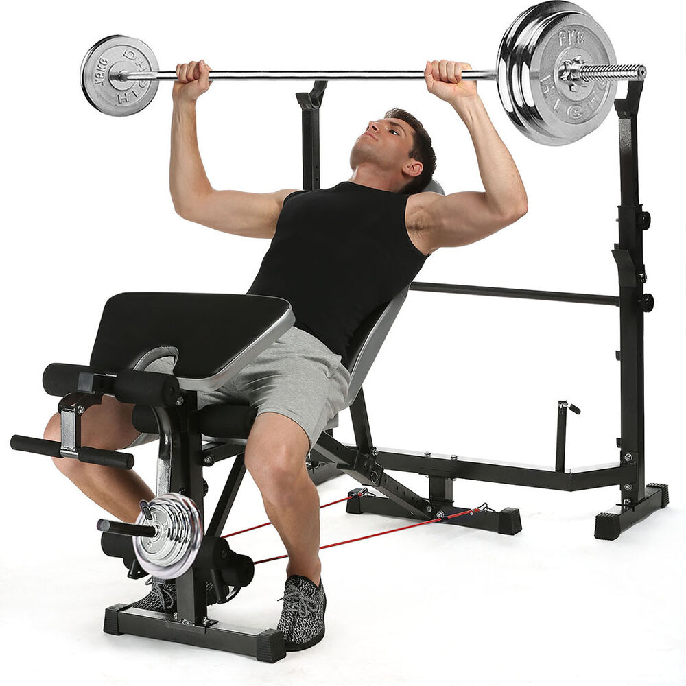 Strength Training: Olympic Weight Bench Set Press Fitness Home Gym Workout