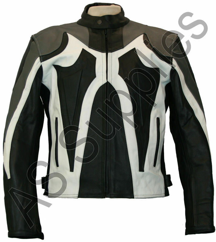 morpheus veste de moto en cuir blouson motard noir blanc toutes tailles ebay. Black Bedroom Furniture Sets. Home Design Ideas