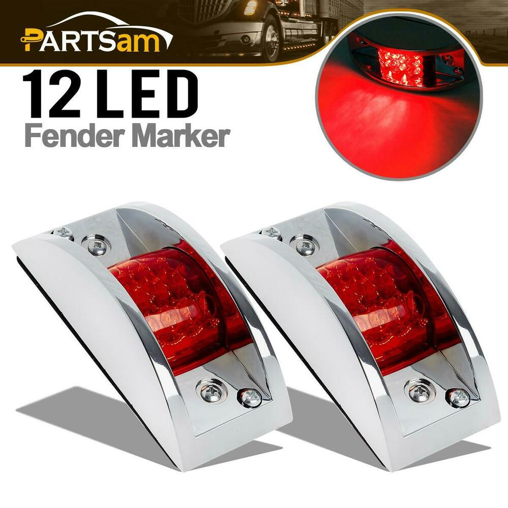 2 Chrome Armored Clearance Running Lights Red 12 Led For