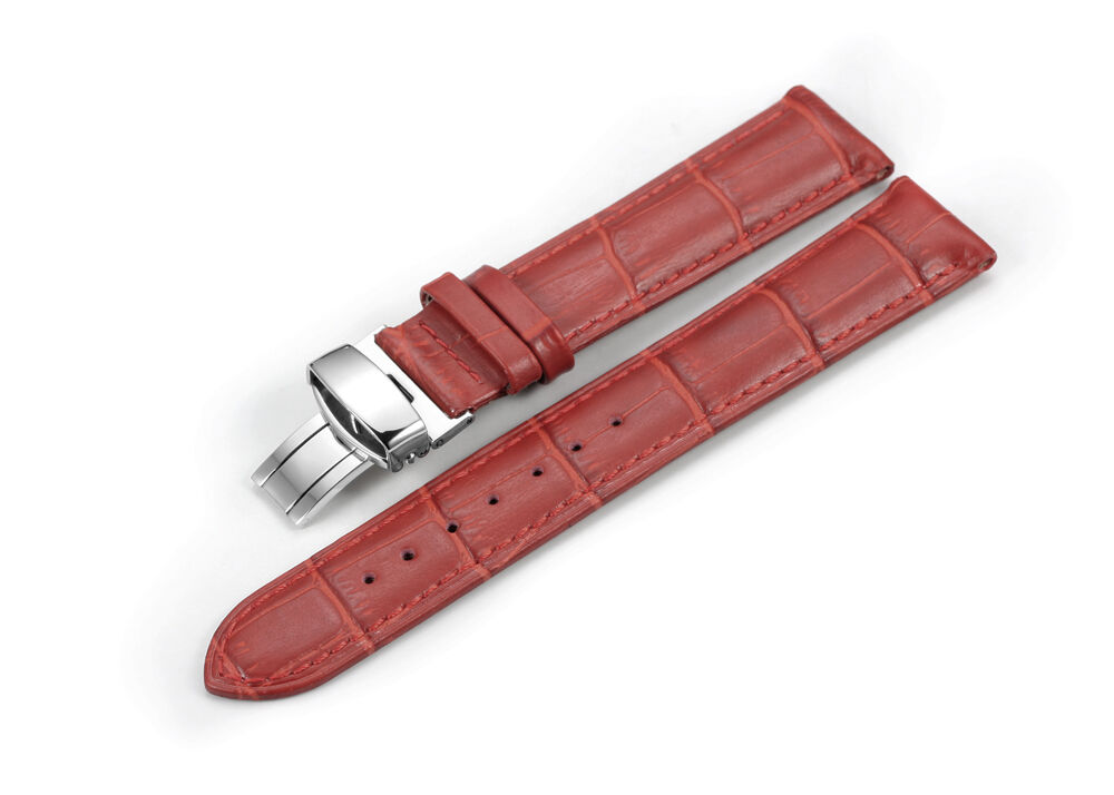 14mm 20mm genuine grain leather watch band deployant clasp strap for longines ebay for Longines leather strap