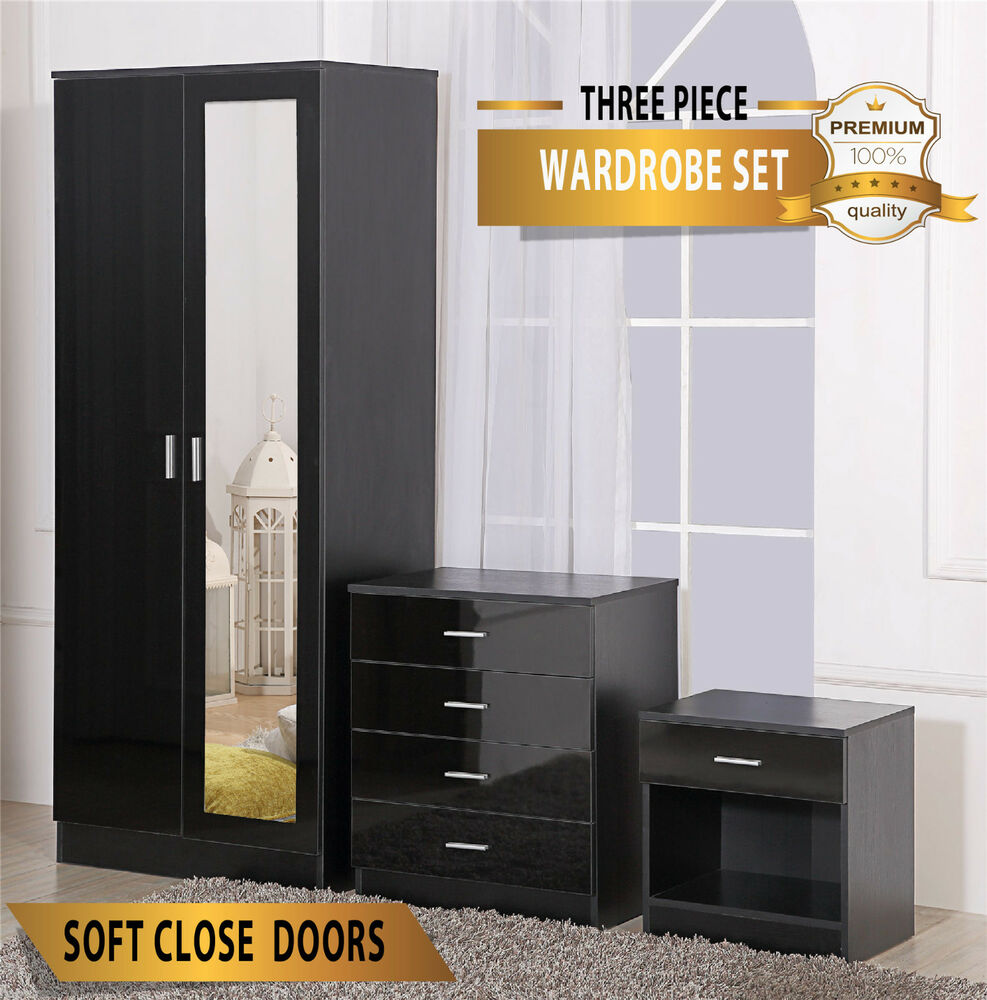 high gloss bedroom furniture set wardrobe chest bedside ebay