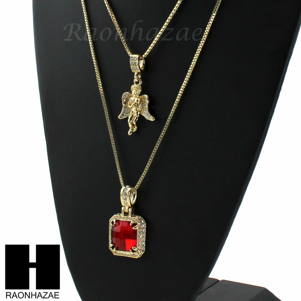 Mens Iced Out Red Ruby Angel Pendant 24 Quot 30 Quot Box Chain