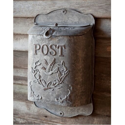 Shabby Cottage Style Metal Bird Mailbox Letter Wall Mount
