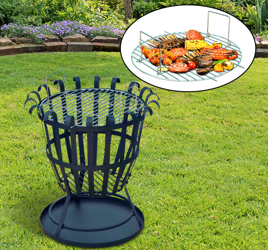 19 outdoor fire pit basket bbq grill grate cast iron steel patio