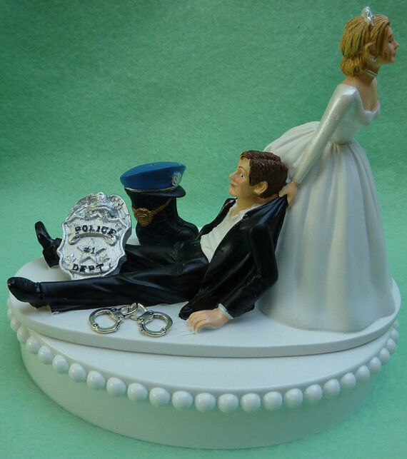 Wedding Cake Topper Policeman Themed Police Officer Handcuffs Badge Boot Grooms