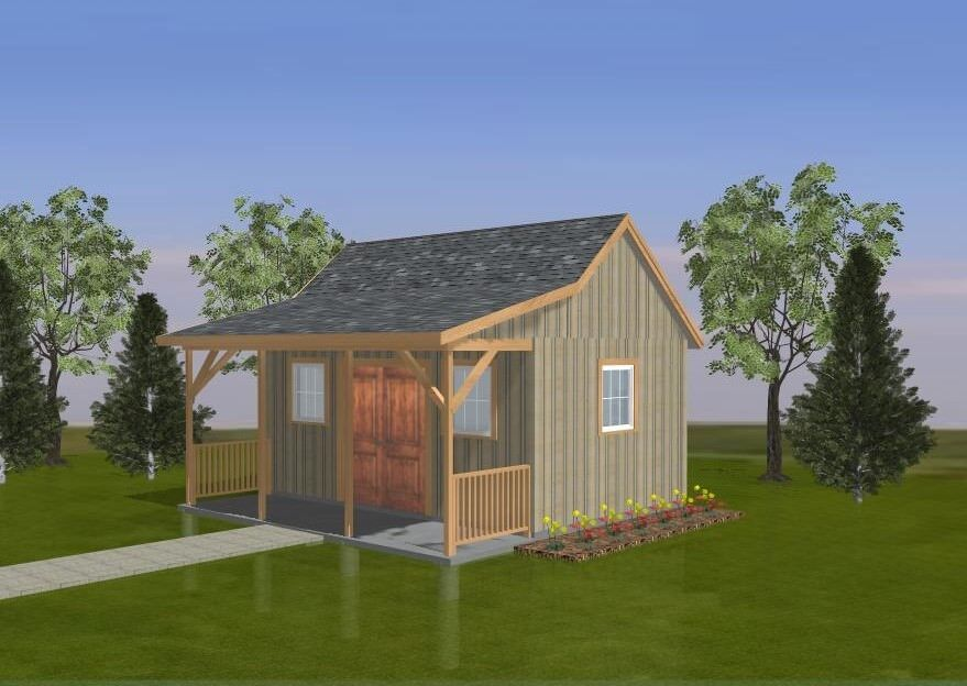 Shed plans blueprints 12 ft x 18 ft with porch ebay for 18 x 24 shed plans